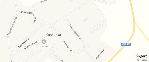 Техническая улица на карте села Красивки Тамбовской области с номерами домов