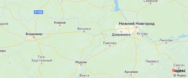 Карта Гороховецкого района Владимирской области с городами и населенными пунктами