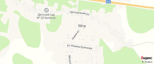 Новая улица на карте деревни Уйты Архангельской области с номерами домов