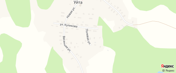 Полевая улица на карте деревни Уйты Архангельской области с номерами домов