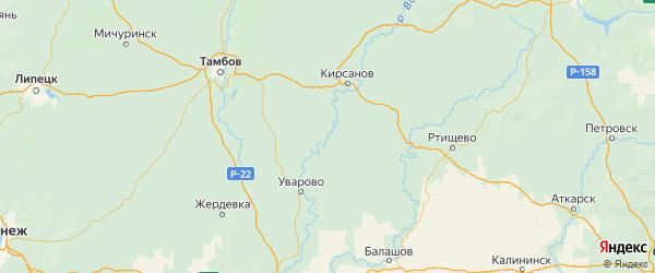 Карта Инжавинского района Тамбовской области с городами и населенными пунктами