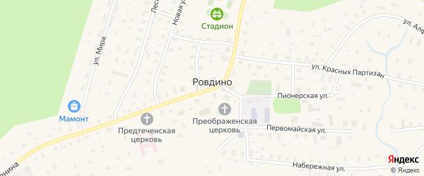 Солнечная улица на карте села Ровдино Архангельской области с номерами домов