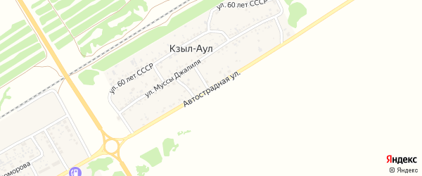 Автострадная улица на карте хутора Кзыла-Аула Ростовской области с номерами домов