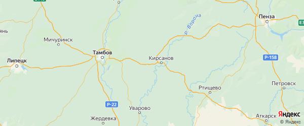 Карта Кирсановского района Тамбовской области с городами и населенными пунктами
