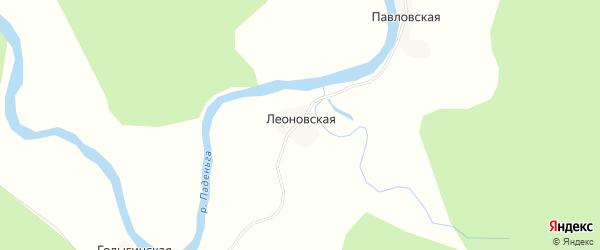 Карта Леоновской деревни в Архангельской области с улицами и номерами домов