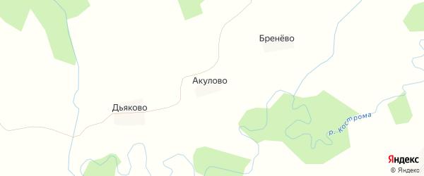 Карта деревни Акулово в Костромской области с улицами и номерами домов