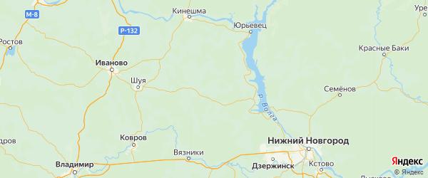 Карта Верхнеландеховского района Ивановской области с городами и населенными пунктами