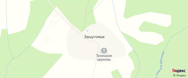 Карта села Зашугомья в Костромской области с улицами и номерами домов
