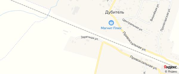 Заречная улица на карте поселка Дубителя Мордовии с номерами домов