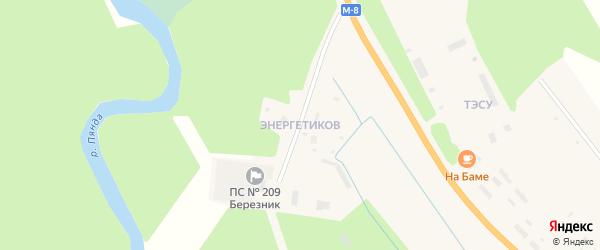 Квартал Энергетиков на карте деревни Нижнее Чажестрово Архангельской области с номерами домов
