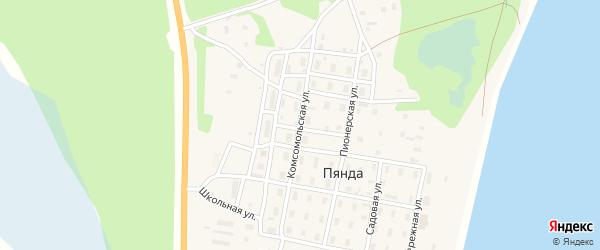 Комсомольская улица на карте поселка Пянды Архангельской области с номерами домов