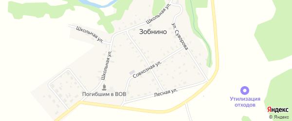 Центральная улица на карте села Зобнино Ивановской области с номерами домов