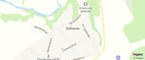 Аптечный переулок на карте села Зобнино Ивановской области с номерами домов
