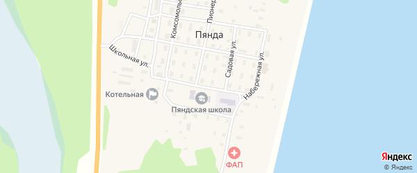 Школьная улица на карте поселка Пянды Архангельской области с номерами домов