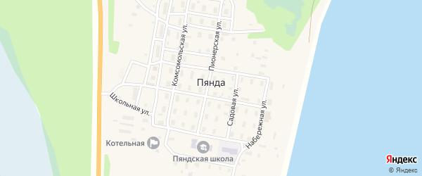 Магистральный переулок на карте поселка Пянды Архангельской области с номерами домов