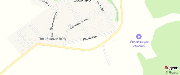 Лесная улица на карте села Зобнино Ивановской области с номерами домов