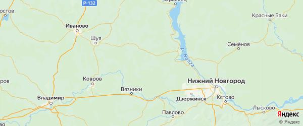 Карта Пестяковского района Ивановской области с городами и населенными пунктами