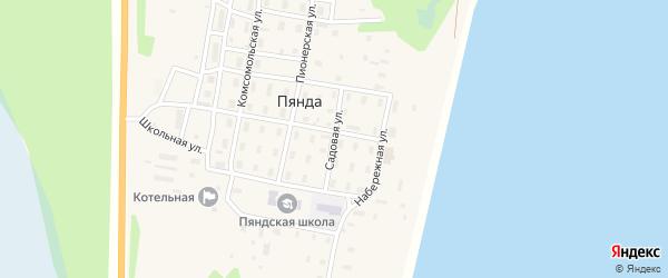 Садовая улица на карте поселка Пянды Архангельской области с номерами домов