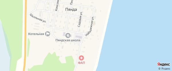 Набережная улица на карте поселка Пянды Архангельской области с номерами домов