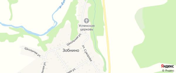 Улица Суворова на карте села Зобнино Ивановской области с номерами домов