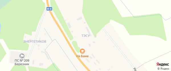 Квартал ТЭСУ на карте деревни Нижнее Чажестрово Архангельской области с номерами домов