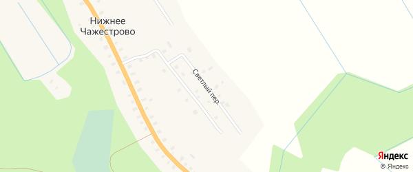 Светлый переулок на карте деревни Нижнее Чажестрово Архангельской области с номерами домов