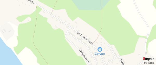 Улица Ломоносова на карте поселка Усть-Ваеньги Архангельской области с номерами домов