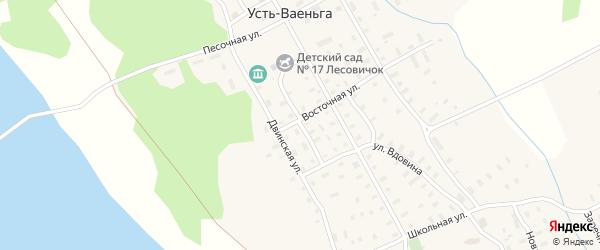 Южная улица на карте поселка Усть-Ваеньги Архангельской области с номерами домов