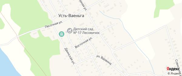 Восточная улица на карте поселка Усть-Ваеньги Архангельской области с номерами домов