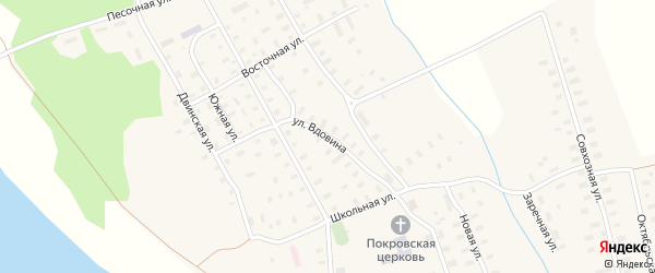 Улица Вдовина на карте поселка Усть-Ваеньги Архангельской области с номерами домов