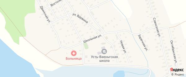 Школьная улица на карте поселка Усть-Ваеньги Архангельской области с номерами домов