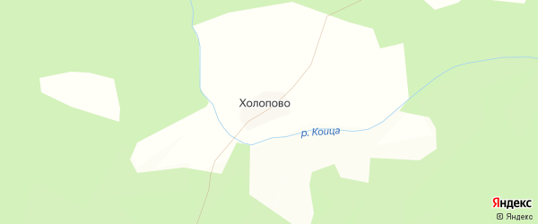 Карта деревни Холопово в Костромской области с улицами и номерами домов