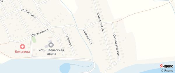 Заречная улица на карте поселка Усть-Ваеньги Архангельской области с номерами домов