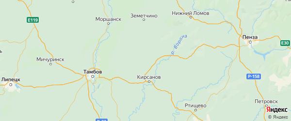 Карта Гавриловского района Тамбовской области с городами и населенными пунктами
