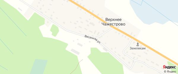 Весенняя улица на карте деревни Верхнее Чажестрово Архангельской области с номерами домов