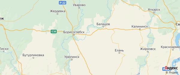 Карта Поворинского района Воронежской области с городами и населенными пунктами
