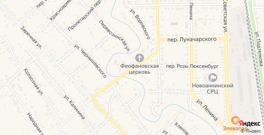 Переулок Луначарского в Новоаннинском с номерами домов на карте. Спутник и схема онлайн