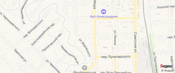 Пролетарский переулок на карте Новоаннинского с номерами домов
