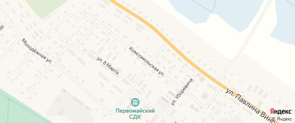 Комсомольская улица на карте поселка Березника Архангельской области с номерами домов