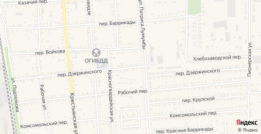 Переулок Дзержинского в Новоаннинском с номерами домов на карте. Спутник и схема онлайн