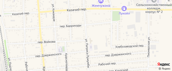 Улица П.Лумумбы на карте Новоаннинского с номерами домов