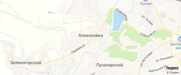 Карта поселка Аликоновки города Кисловодска в Ставропольском крае с улицами и номерами домов