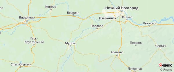 Карта Вачского района Нижегородской области с городами и населенными пунктами