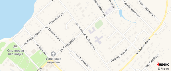 Улица Яковлева на карте Чухломы с номерами домов
