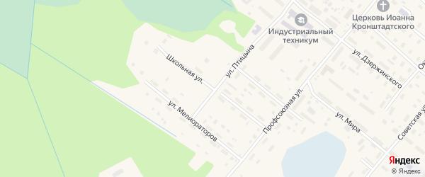 Школьная улица на карте поселка Березника Архангельской области с номерами домов