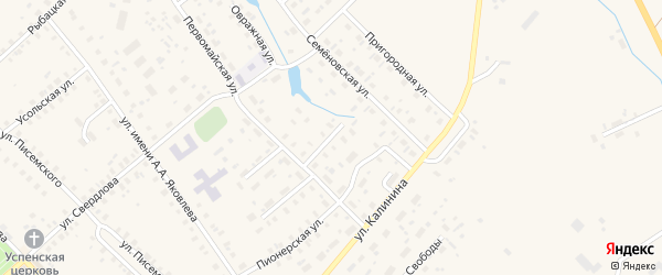 Первомайский переулок на карте Чухломы с номерами домов