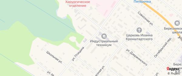 Улица Птицына на карте поселка Березника Архангельской области с номерами домов