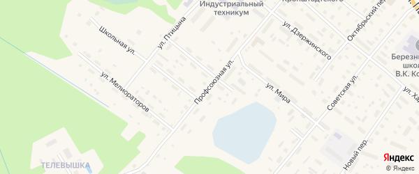 Профсоюзная улица на карте поселка Березника Архангельской области с номерами домов