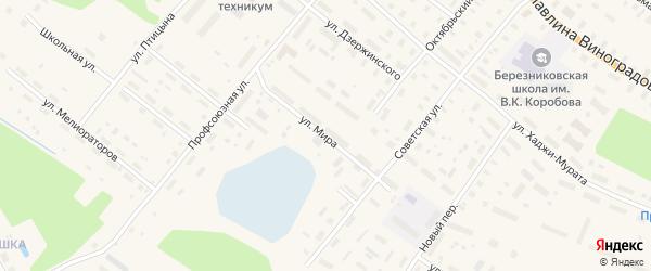 Улица Мира на карте поселка Березника Архангельской области с номерами домов