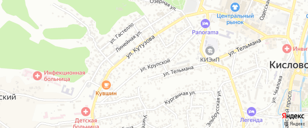 Улица Крупской на карте Кисловодска с номерами домов